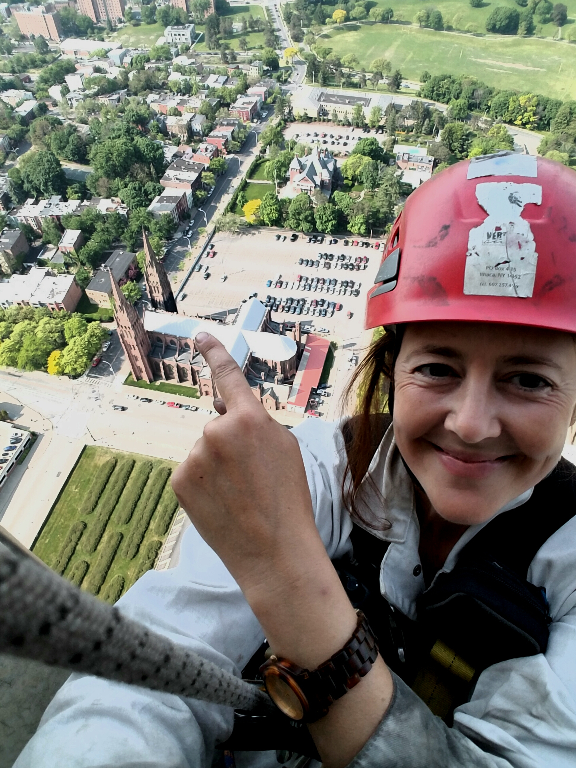Kelly Streeter points to site of her first rope access project back in 1997.
