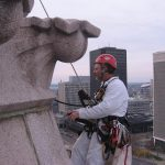 Mike on spire of Erie Community College Tower